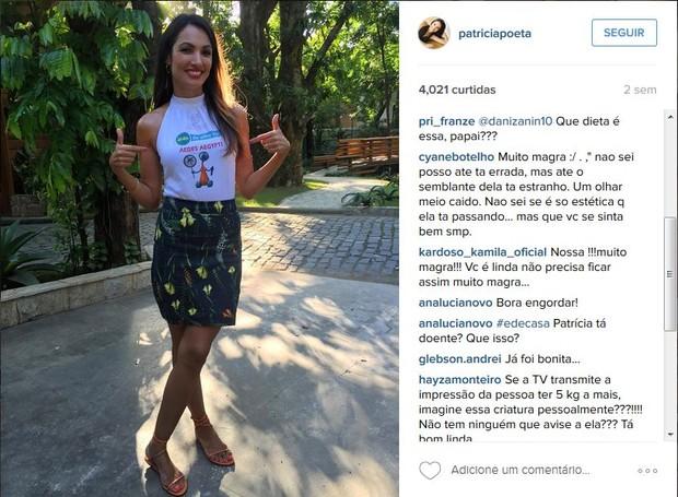 Comentários no Instagram sobre Patrícia Poeta após ela perder dez quilos (Foto: Reprodução/Instagram)