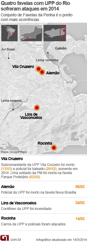mapa ataques tiroteio upp Rio (Foto: Editoria de Arte / G1)