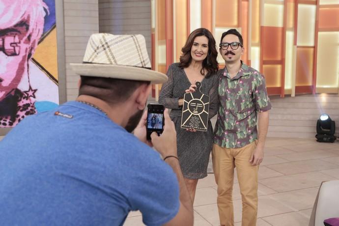 Fátima com o artista Perron Gomes  (Foto: Felipe Monteiro/Gshow)