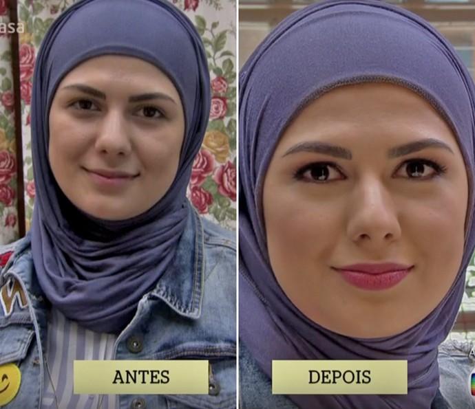 Confira o antes e depois da maquiagem de Mag Halat no 'É de Casa' (Foto: TV Globo)