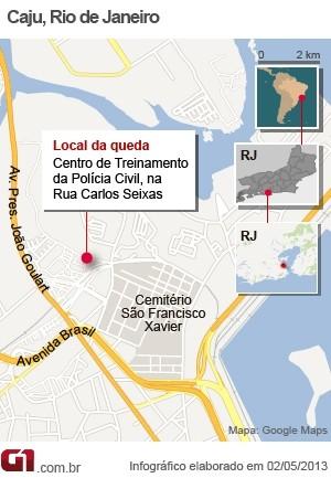 NOVO mapa com o local da queda do helicóptero da Polícia Civil no Rio (Foto: Arte/G1)