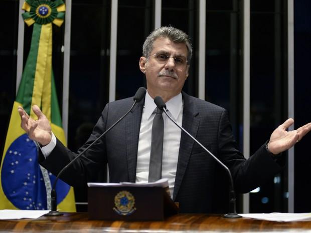 Plenário do Senado durante sessão não deliberativa.   Em discurso, à tribuna, senador Romero Jucá (PMDB-RR). (Foto: Jefferson Rudy/Agência Senado)