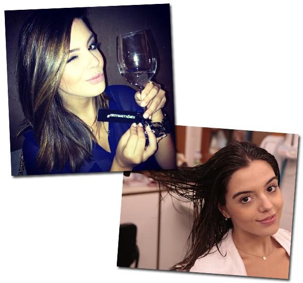 Com o cabelo atualmente um pouco mais claro, Giovanna faz hidratação religiosamente, nem que seja na sauna do prédio onde mora! (Foto: Reprodução/Instagram e Divulgação/ Rede Globo)