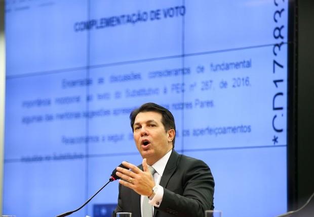 Arthur Maia fala na sessão da comissão especial da reforma da Previdência Social (Foto: Marcelo Camargo/Agência Brasil)