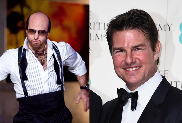 Tom Cruise em 'Trovão Tropical' e na vida real (Foto: Divulgação)