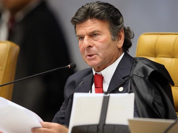 O ministro do STF, Luiz Fux, vota a favor da manutenção das atuais regras de direitos autorais (Foto: Nelson Jr. / STF)