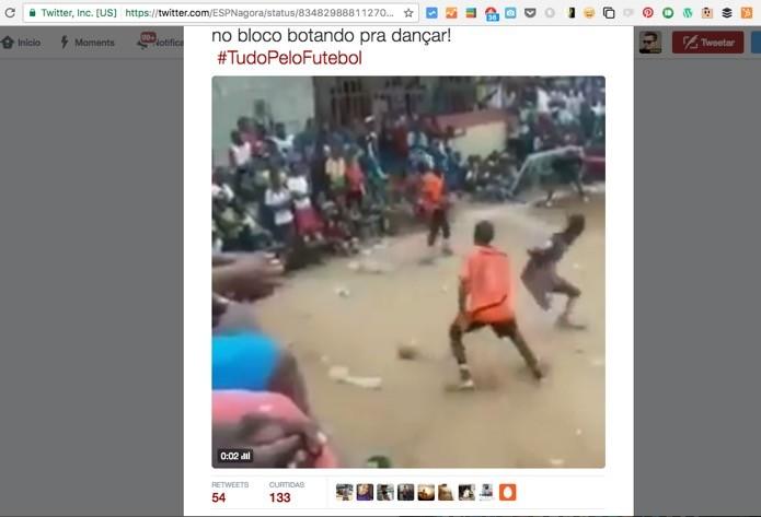 Post com vídeo no Twitter (Foto: Reprodução/André Sugai)