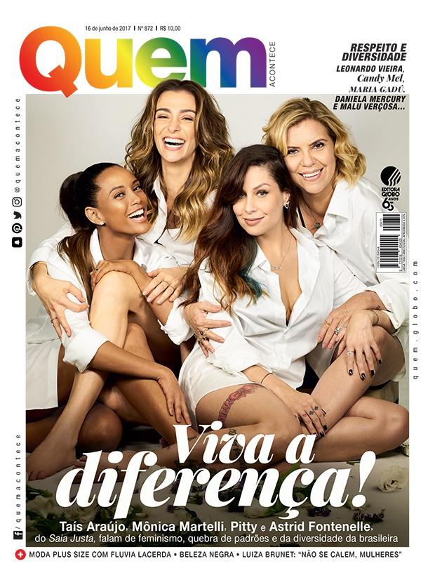Taís Araújo, Mônica Martelli, Pitty e Astrid Fontenelle na capa da QUEM (Foto: André Schiliró/Ed Globo)