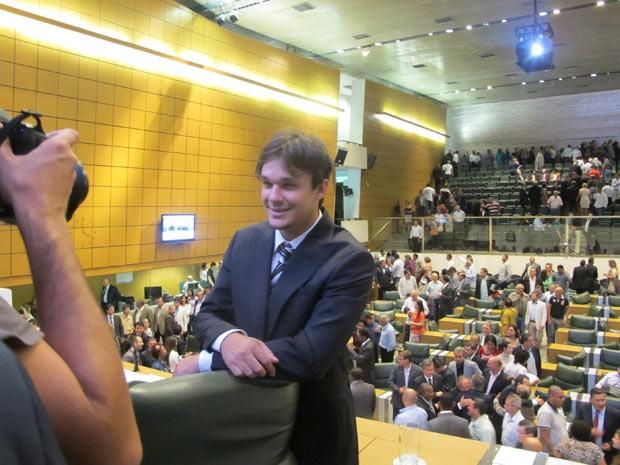 Leandro no auditório da Assembleia Legislativa de SP após assumir uma das vagas da Casa (Foto: Márcio Pinho/G1)