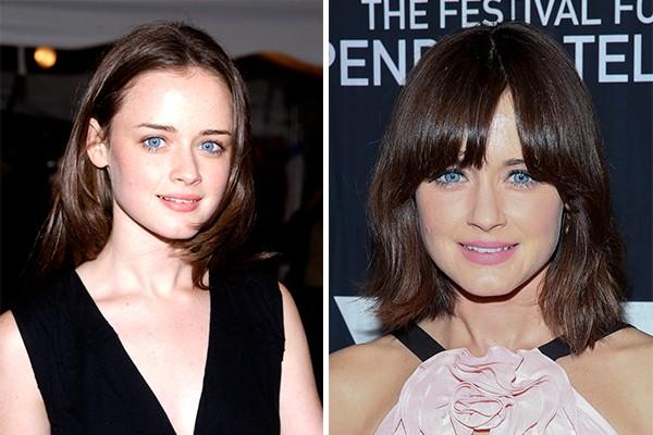 Alexis Bledel ('Gilmore Girls') com 21 anos em 2002 e 11 anos depois (Foto: Getty Images)