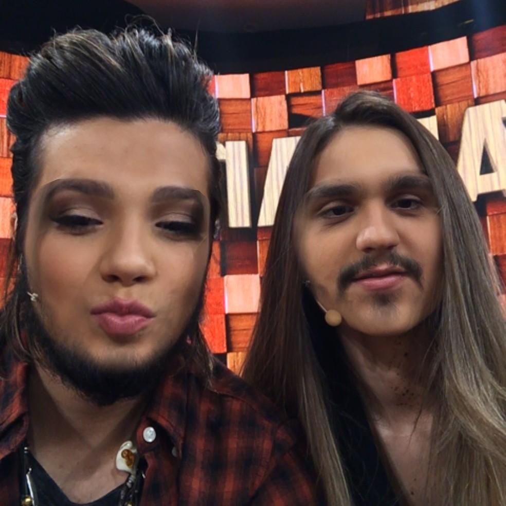 Luan Santana trocou de rosto com a irmã. Resultado ficou hilário (Foto: Tv Globo)
