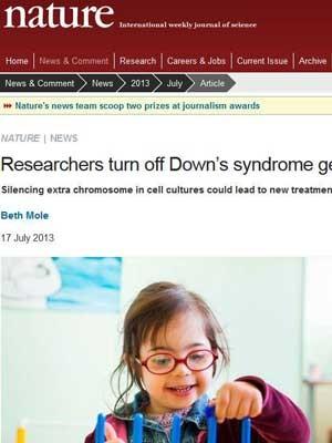 Reportagem no site da 'Nature' comenta trabalho sobre a síndrome de Down (Foto: Reprodução/Nature.com)