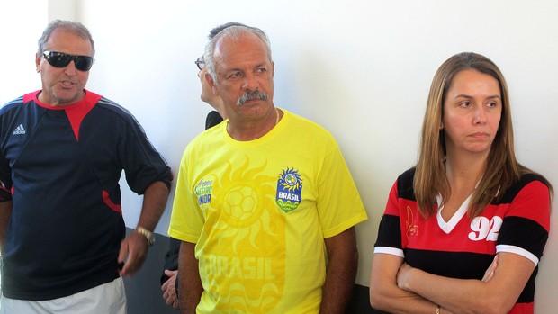 Junior, Patrícia Amorim e Zico na inauguração da arena beach Flamengo (Foto: Fred Huber / Globoesporte.com)