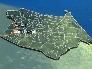 Mapa dos bairros genibaú e granja portugal, temas do meu bairro na TV (Foto: Arte/TV Verdes Mares)