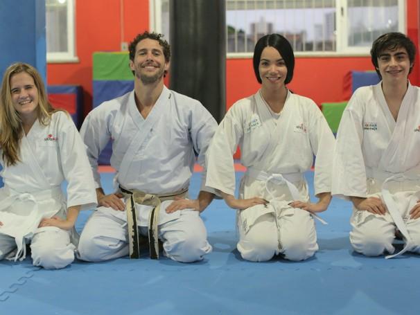 Julia, Vitoria e João Pedro estão no Time Flávio no Click Esperança (Foto: Globo)