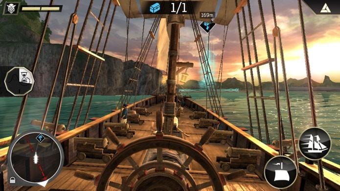 Em Assassins Creed Pirates, use os ícones da tela para navegar com barco (Foto: Divulgação/Ubisoft)
