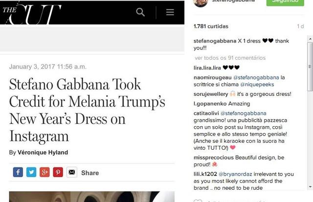 """""""Stefano Gabbana levou os créditos do look de Ano Novo de Melania Trump no Instagram"""", diz manchete repostada pro Stefano (Foto: Reprodução)"""