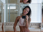 Mayra Cardi impressiona com barriga seca: 'Acordei mais magra'