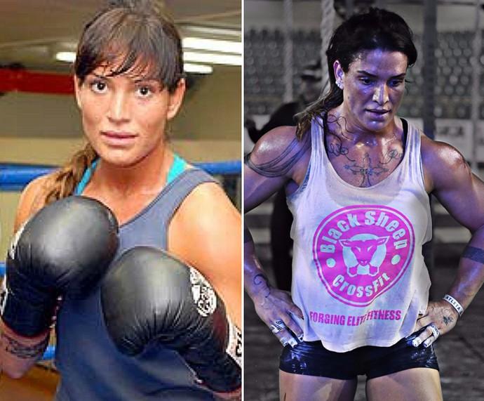 À esquerda, Tatiana quando lutava boxe. À direita, em torneio de CrossFit (Foto: Arquivo pessoal)