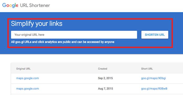 Local para encurtar a URL de um site no serviço Google URL Shortener (Foto: Reprodução/Marvin Costa)