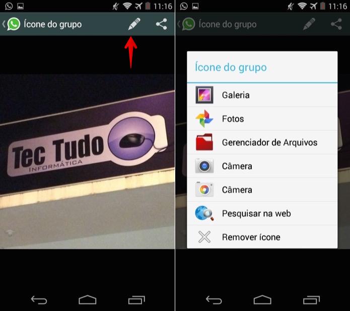 Alterando a foto do grupo no WhatsApp para Android (Foto: Reprodução/Helito Bijora)