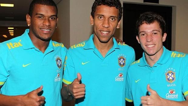 Fernando, Marcos Rocha e Bernard na Seleção (Foto: CBF / Divulgação)