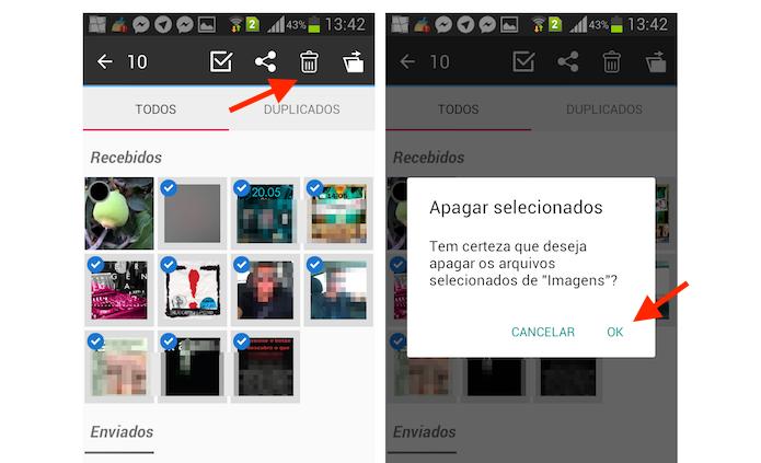 Deletando arquivos do WhatsApp selecionados através do Limpador do WhatsApp para Android (Foto: Reprodução/Marvin Costa)