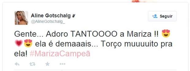 Aline Gotschalg declara torcida para Mariza (Foto: Twitter / Reprodução)