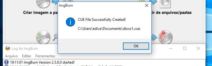 Confirmando a criação do arquivo CUE (Foto: Reprodução/Edivaldo Brito)