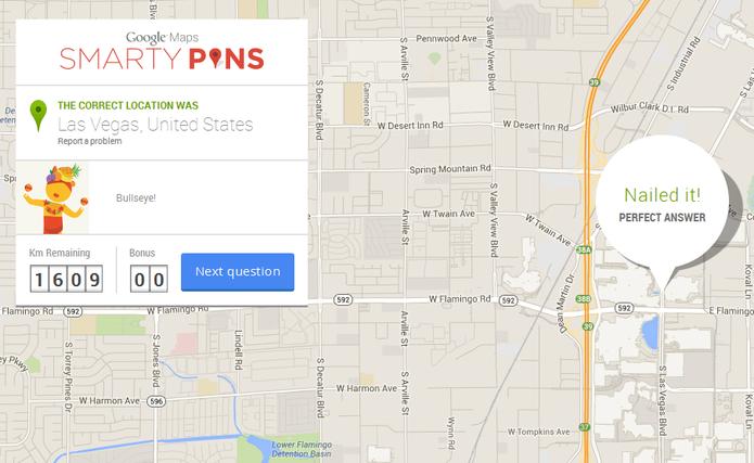 Comemoração de resposta correta no Smarty Pins, do Google Maps (Foto: Reprodução)
