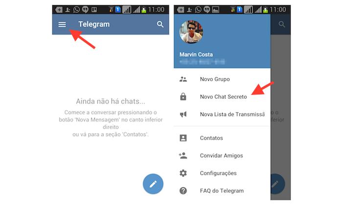 Acessando a ferramenta de chat secreto do Telegram para Android (Foto: Reprodução/Marvin Costa)