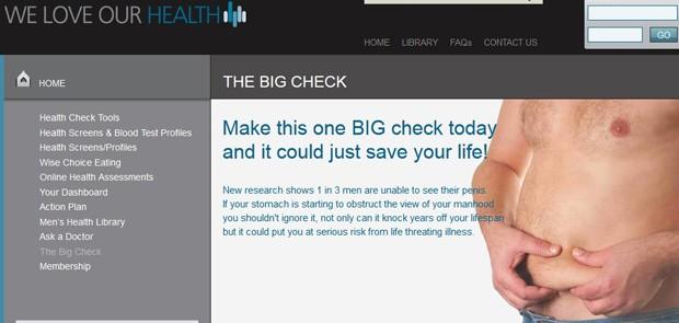 Site Weloveourhealth.co.uk desafia homens a enxergarem o próprio pênis (Foto: Reprodução/Weloveourhealth.co.uk)