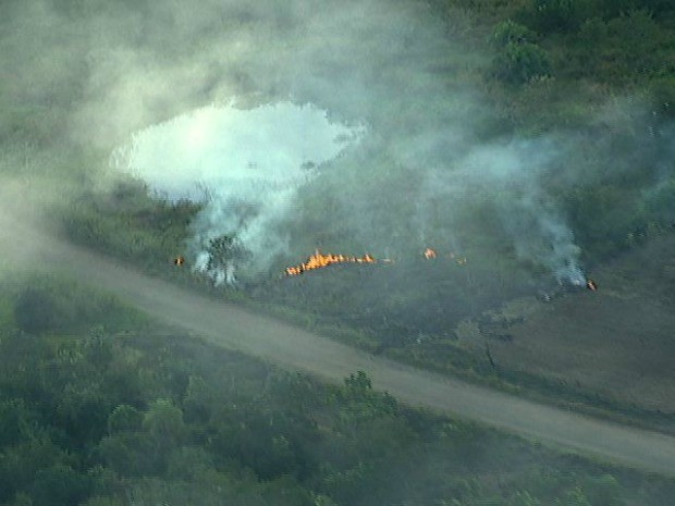 Pasto em fazenda é incendiado pelos índios terena na quinta-feira (30) (Foto: Reprodução/TV Morena)