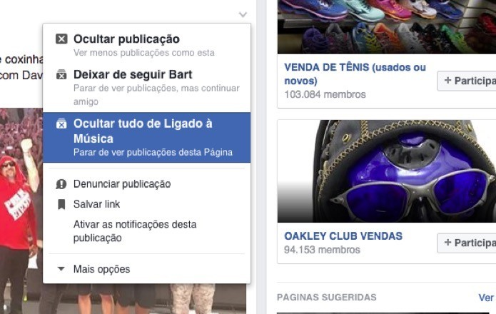 Opção do Facebook para esconder tudo sobre o usuário ou página (Foto: Reprodução/André Sugai)