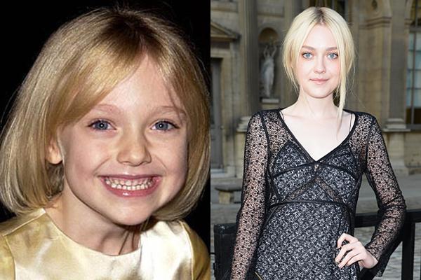 Dakota Fanning no início dos anos 2000 e atualmente (Foto: Divulgação)