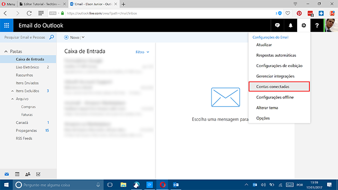 Clique em contas conectadas para usar o Gmail no Outlook.com (Foto: Reprodução/Elson de Souza)