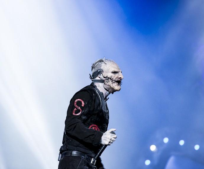 Corey Taylor dá show no palco (Foto: Ellen Soares / Gshow)