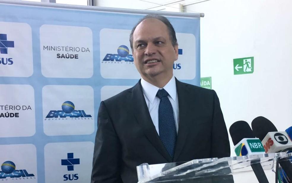 Ministro da Saúde, Ricardo Barros, em coletiva de imprensa em Brasília (Foto: Luiza Garonce/G1)