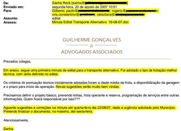 Trecho de e-mail de Sacha Reck sobre edital de Sete Lagoas (Foto: Reprodução)