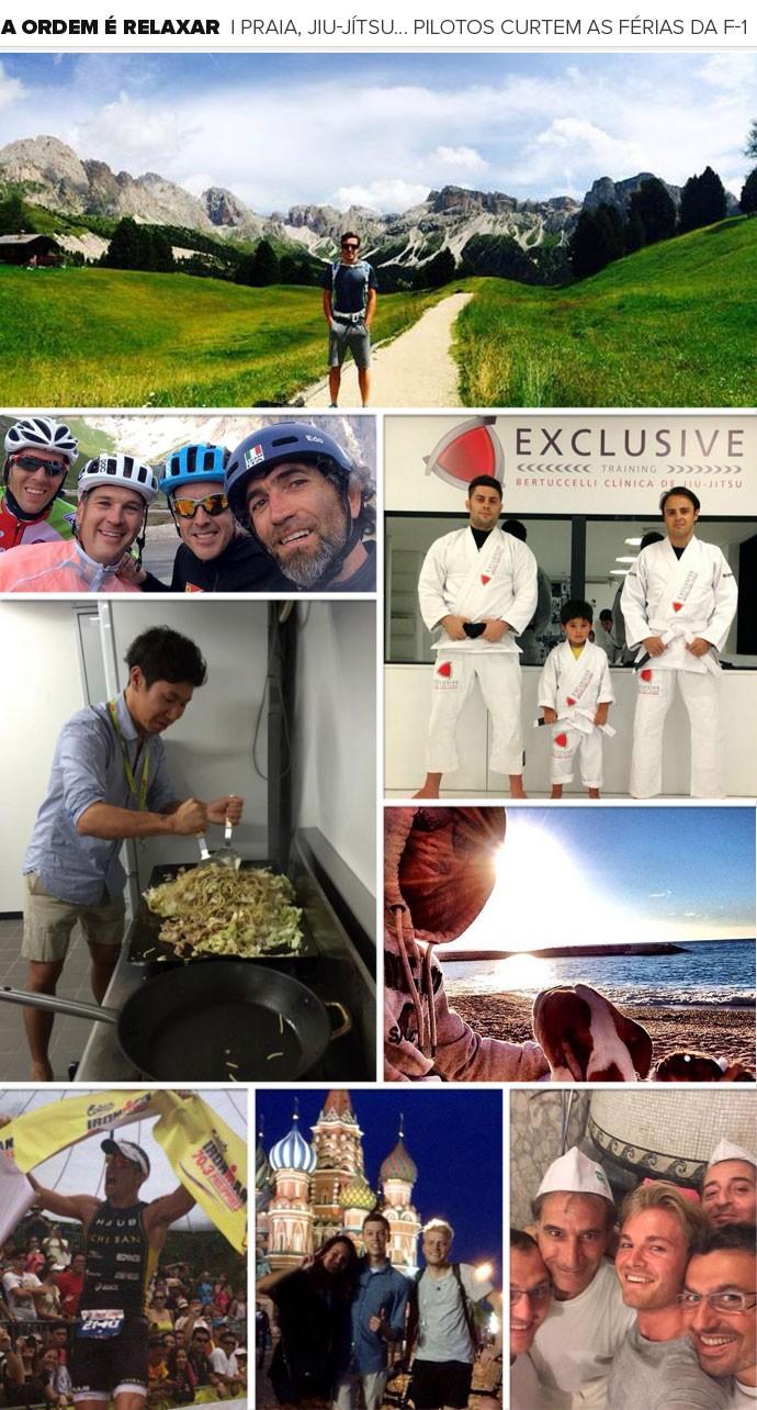 MOSAICO - férias fórmula 1 pilotos (Foto: Reprodução / Instagram)