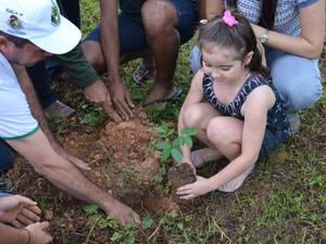 A Secretaria Municipal de Meio Ambiente de Ji-Paraná (RO) realizou na tarde desta quarta-feira (5) o plantio de mais de 30 mudas de árvores em torno de um lago localizado na Praça dos Cemitérios, na Avenida 2 de Abril. A ação faz parte das comemorações da (Foto: Hudson Pimentel/G1)