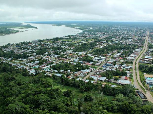 Tabatinga fica situada às margens do Rio Solimões na fronteira entre Brasil e Colômbia (Foto: Adneison Severiano/G1 AM)