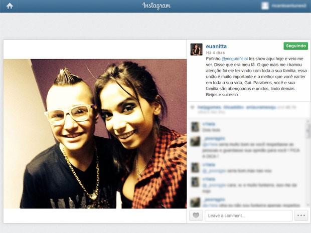 Anitta e MC Gui em foto divulgada pela cantora no Instagram no dia 5 de outubro (Foto: Reprodução/Instagram)