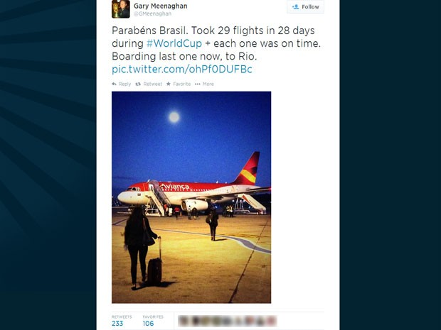 Gary Meenaghan, jornalista escocês, pegou 29 voos em 28 dias no Brasil sem nenhum atraso (Foto: Reprodução/Twitter/Gmeenaghan)
