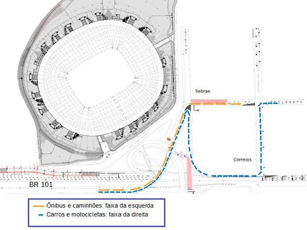 Mapa mostra como ficará trânsito com novas mudanças para obras mobilidade urbana em Natal (Foto: Divulgação/PRF)