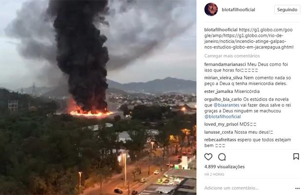 Blota Filho lamenta incêndio em galpão de Deus Salve o Rei (Foto: Reprodução/Instagram)