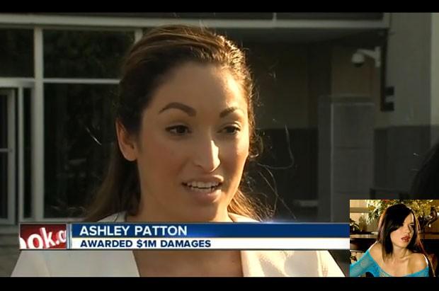 Ashley Patton ganhou US$ 1 milhão (R$ 2,46 milhões) após emissora de rádio confundi-la com a atriz pornô Ashley Payton (foto pequena) (Foto: Reprodução/YouTube/41 Action News)
