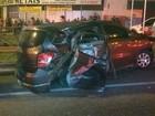 Suspeitos batem carro roubado ao tentar fugir da polícia em Sorocaba