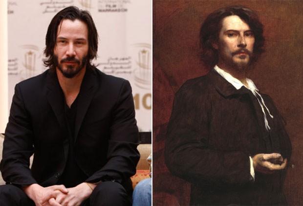 À direita, retrato de 1873 que lembraria o ator Keanu Reeves. (Foto: AP/Reprodução)