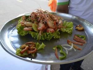Prato de camarão no bafo que venceu o concurso (Foto: Maiara Pires/G1)